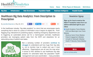Healthcare Big Data Analytics From Description to Prescription