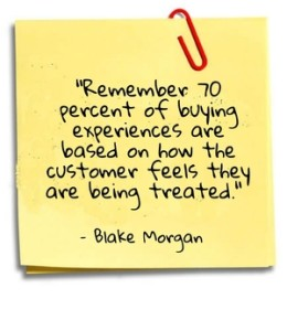 """Remember 70 percent of buying experiences are based on how the customer feels they are being treated."" - Blake Morgan"