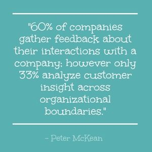 """60% of companies gather feedback about their interactions with a company; however only 33% analyze customer insight across organizational boundaries."" - Peter McKean"