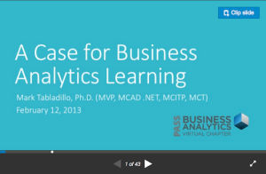 A Case for Business Analytics Learning
