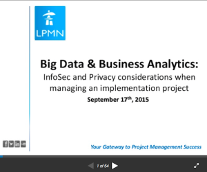 Big Data Business Analytics InfoSec and Privacy Considerations When Managing an Implementation Project