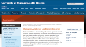 Business Analtyics Certificate online