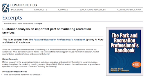 Customer Analysis an Important Part of Markeitng Recreation Services
