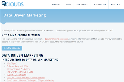 My 9 Clouds DataDriven Marketing Course